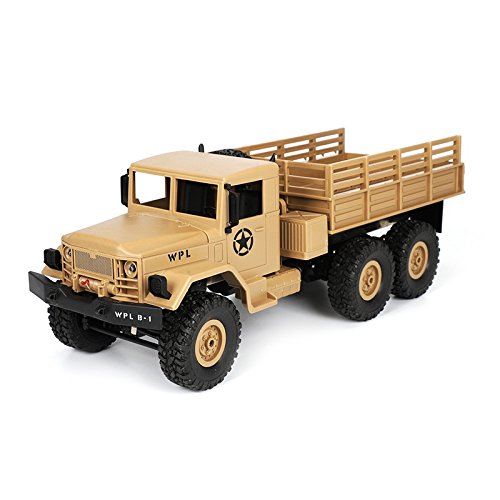SODIAL 2018 Nuevo WPL B-16 1/16 2,4 G 4WD Todoterreno Militar RC Correa eslabonada de la Roca Coche del Ejercito de Camiones Amarillo