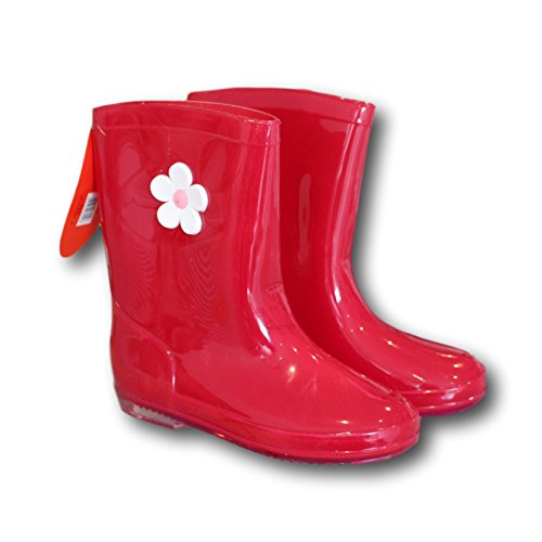 Trendy Infants Red Wellies with Flower design - PVC