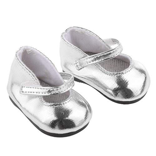 Newin Star Zapatos en Miniatura muñeca Barbie Adapta American Girl 18 Pulgadas Zapatos muñecas metálico Brillante de Plata de la muñeca Barbie Accesorios 1pair
