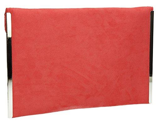 SwankySwans - Borsetta senza manici donna, rosso (burgundy), Taglia unica Corallo