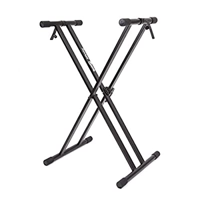 RockJam Xfinity Double-X Pre-Assembled Adjustable Keyboard Stand with Locking Straps