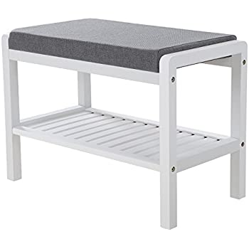 songmics bamboo foam shoe bench 60cm x 43cm x 32cm amazon