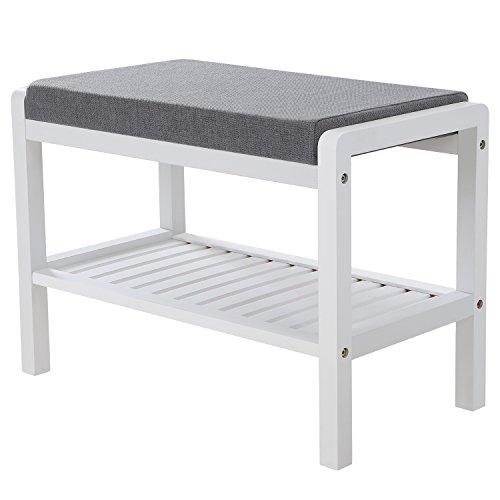 garderobe hocker SONGMICS Bambus Sitzbank Schuhschrank mit Sitzkissen Schuhregal Schuhbank mit 2 Ablagen für Wohnzimmer,Schlafzimmer,Flur,Diele 60 x 43 x 32 cm (B x H x T) weiß-grau LBS65WN