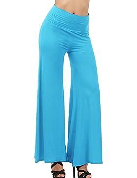 Gladiolus Casual Fresca Pantalones Pantalón De Las Mujeres De Pernera Ancha Para Yoga Celeste L