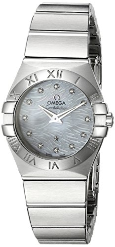 OMEGA Women's Constellation Diamond 27mm Steel Bracelet & Case Quartz MOP Dial Watch 123.10.27.60.55.004