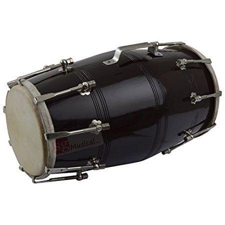 Mango Wood Dholak - Bolt Tuned - Hochzeit Dholki - Schwarz, Bulk/Wholesale also Available at Discount Price