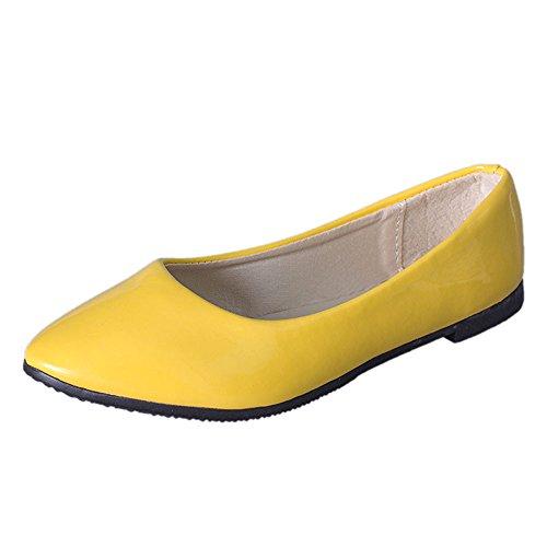 Epig Frauen Ballerinas Spitze Zehe Auf Komfort Klassische Ballerina Wanderschuhe Casual Leder Slip On Müßiggänger Schuhe (Frauen Schuhe Unter Rüstung)