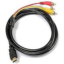 HDMI a RCA Cable 1,5m HDMI macho a 3RCA Video Audio AV Componente Cable adaptador convertidor para HDTV PC DVD y la mayoría de los proyectores LCD (no para PS4) (negro)