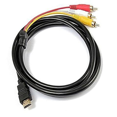 HDMI vers RCA câble 1.5m HDMI mâle vers 3RCA vidéo audio AV Component câble adaptateur convertisseur pour HDTV DVD de PC et la plupart des projecteurs LCD (ne pas pour PS4)