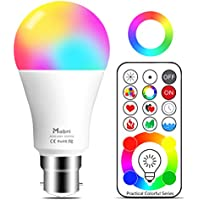 Mobri B22 LED Colour Changing Light Bulbs with Remote Control, 75 Watt Equivalent Bayonet Dimmable Colour Bulbs with Timing, Memory & Sync, 120 Multi RGB Colours + Daylight White (1 Pack)