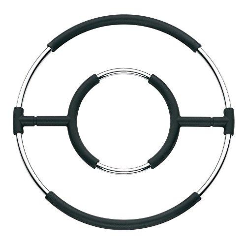 kela 15792 Dessous-de-Plat Globul 20cm en métal chromé/Silicone Noir, 20 x 20 x 2 cm