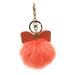 S.A.V.I Fur Pom Pom Bag Charm Leather Bow Keychains & Keyrings (Red)