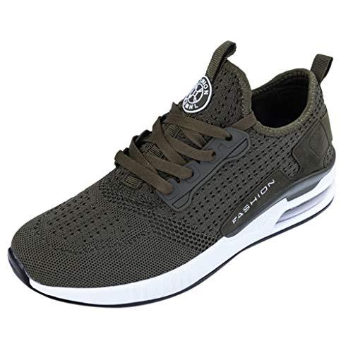 feiXIANG Herren Damen Mesh Schuhe Atmungsaktive Sportschuhe Student Running Outdoor Leicht Fitnessschuhe(Grün,46) -