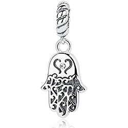 Wostu Lucky Charms 925plata de ley mano de Fátima Spacer charms Beads para pulsera