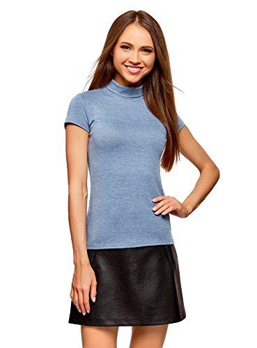oodji Collection Damen Kurzarm-Shirt mit Stehkragen, Blau, DE 38 / EU 40 / M (Rollkragen-shirts Kurzarm)