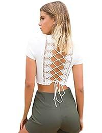 564809219c2 Mode Femmes Sexy À Manches Courtes Pure Couleur Bandage Solide Col V Blouse  Tops Dames Noeud