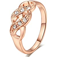SaySure - 18K Rose Gold Plated Wedding Ring Crystals (SIZE : 7.25)