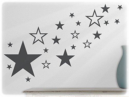 wandfabrik - Wandtattoo - 82 hochwertige Sterne in dunkelgrau