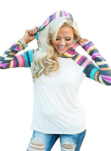 Rcool Frauen Kapuzenpullover Pulli Weihnachtsbrief Spleißen T-Shirt mit Print Weiß (XL)