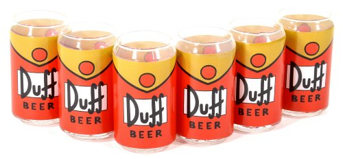 United Labels Simpsons 0109497 Duff - Set de 3 vasos de cristal con fo