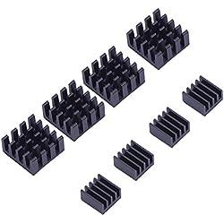 Mudder Disipador de Calor Aluminio Kit de Refrigeración para Raspberry Pi 3, Pi 2, Pi Modelo B+, 8 Piezas, Negro