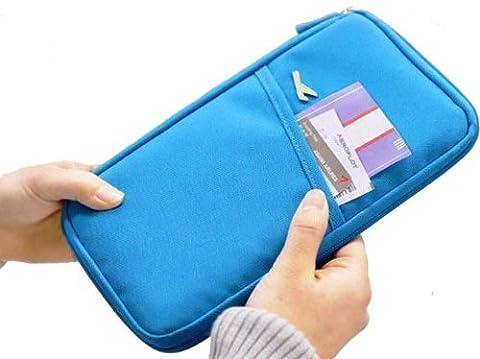 11couleurs durable Nylon imperméable Voyage Document Portefeuille (Bleu)