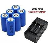 Sannysis 16340 Cargador de batería con 2 ranuras para baterías recargables de Li-ion y 6 pcs 16340 2000mAh baterías