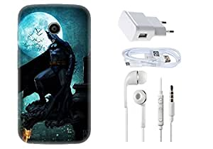 Spygen Motorola Moto E Combo of Premium Quality Designer Printed 3D Lightweight Slim Matte Finish Hard Case Back Cover + Charger Adapter + High Speed Data Cable + Premium Quality Handfree