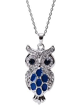 Neoglory Jewellery Halskette Eule silber mit Swarovski® Elements Strass weiß und blau niedlich liebevoll Emaille