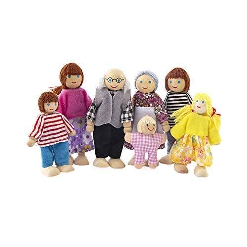 Juleya Wooden Family Dolls für Puppenhaus - Lovely Happy Pretend Game Spielset Holzfiguren Menschen für Kinder Kids