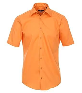 Venti Hemd Orange Uni Kurzarm Slim Fit Tailliert Kentkragen 100% Feinste Baumwolle Popeline Bügelfrei 36