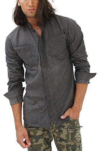 trueprodigy Casual Herren Marken Hemd einfarbig Basic, Oberteil cool und stylisch mit Stehkragen (Langarm & Slim Fit), Shirt für Männer in Farbe: Schwarz 2082105-2999-M