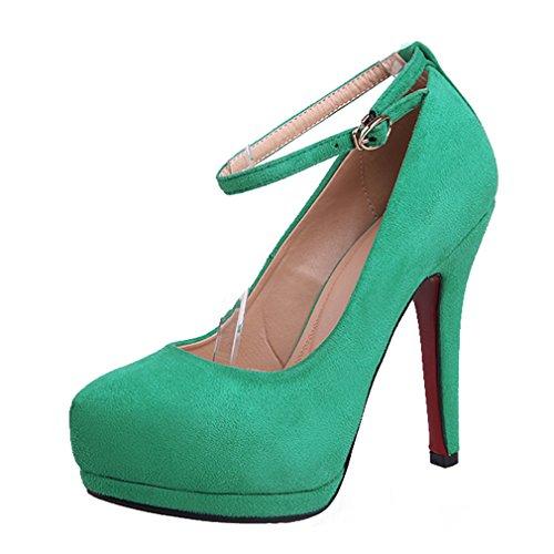 UH Femmes Sandales Bride Cheville Bout Pointu à Talons Haut Aiguille Suede Simple et Elegantes et en Mode Vert