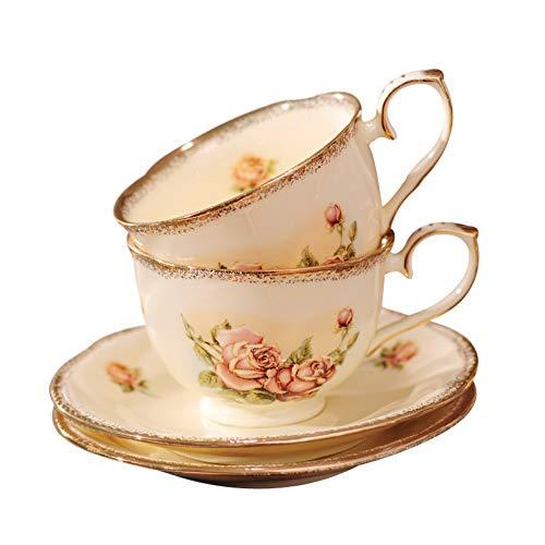 Zpspz tazzine da caffè set da caffè europeo set completo di tazza e piattino in ceramica placcato oro,un