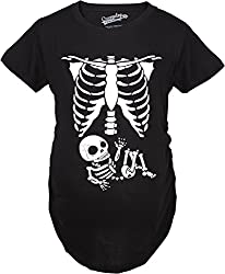 Crazy Dog Tshirts Maternity Skeleton Baby T Shirt Halloween Costume Funny Pregnancy Tee For Mothers by Crazy Dog Tshirts