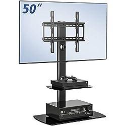 FITUEYES Meuble Télé Pied Support Pivotant pour TV Ecran de 23 à 55 Pouces LED LCD Plasma avec 2 Etagères en Verre Trempé, Pivotant à 70°, Réglable en Hauteur, Gestion des Cables, VESA Max 400x400 mm