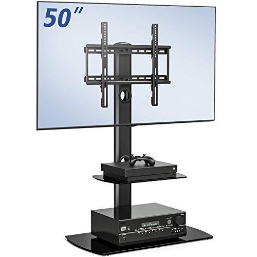 FITUEYES Soporte Giratorio de TV de 23 a 50 Pulgadas con 2 Estantes Girar 70 Grados Altura Ajustable...