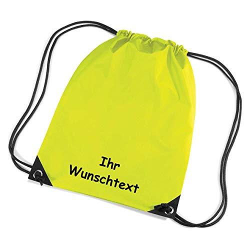 8a89ed6225cfc SL-Store GbR   Turnbeutel Sportbeutel Schuhbeutel Schwimmbeutel   Bestickt  mit Namen Wunschtext   45x33 cm   (neon gelb)