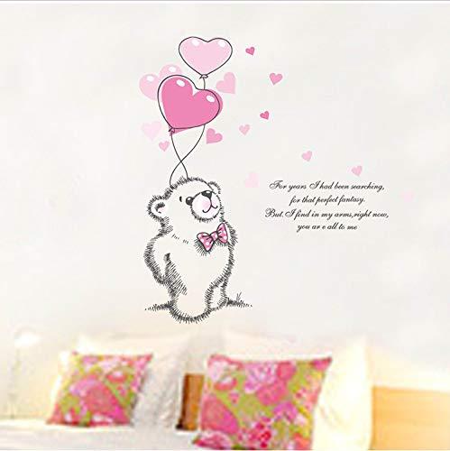 ticker Liebe Rosa Bär Ballon Baby Schlafzimmer DIY Wandaufkleber Valentinstag Mädchens Childre Kinder Tiere Decor 50X70 cm ()