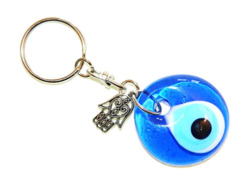 Jeannieparnell A1-0237 Elephant with 3cm Glass Lucky Evil Eye Charm Keyring//Key Ring Hanger for Protection /& Good Luck Charm