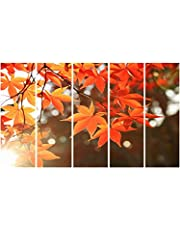 999Store Multiple Frames Printed Wooden Frame Yellow Leaves Wall Art Panels For Living Room Painting - 5 Frames (130 X76 Cms)
