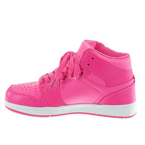 Baskets Angkorly Femme Sneakers Haute Sneaker Cuir Snakeskin Talon Perforé Talon Plat 3 Cm Fushia