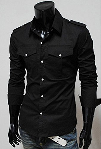 Ghope Homme Chemise Slim Fit Manches Longues Habillé Taille Ajutée Casual Commercial Noir