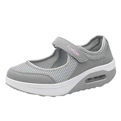LILIHOT Frauen leichte atmungsaktive Mesh-Schuhe erhöht Freizeitschuhe Outdoor Casual Sportschuhe Dickes Ende Erwachsene Straße Laufen bequem ultraleichte Mode Luftpolster Schuhe - 5/4 Western Leder