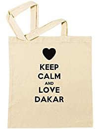 Keep Calm And Love Dakar Bolsa De Compras Playa De Algodón Reutilizable Shopping Bag Beach Reusable
