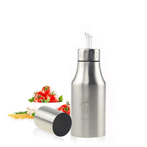 Aceite Botella Dispensador de acero inoxidable Aceitera & vinagrera Aceitera ölbehälter caño seguro, Liquid ingrediente resistente al polvo Plata novata