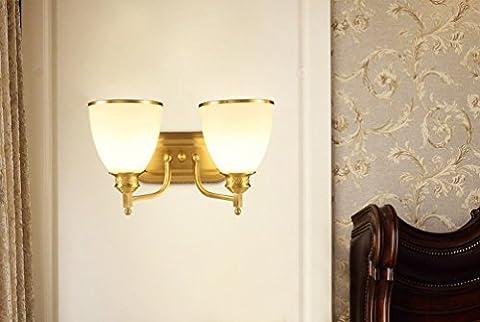 Vollst?ndige Kupfer Lampe Nachttisch Wand Lampe Balkon Korridor Gang Lampe Harz Lampe Wohnzimmer Schlafzimmer American Retro,Doppelkopf