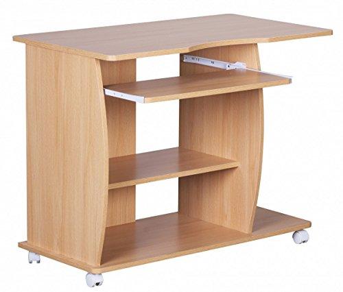 FineBuy Computertisch DAVID rollbar Buche 90 x 71 x 50 cm mit Tastaturauszug | Laptop Tisch auf feststellbaren Rollen | PC-Tisch mit Drucker-Ablage platzsparend | Schreibtisch für kleine Räume
