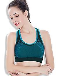 ny Deportes Ropa interior Shock Running Fitness Fitness Yoga No Trace No Steel Ring Sujetador Bra Gather ( Color : Azul , Tamaño : S )
