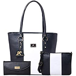 Speed X Fashion Women's Handbag And Sling Bag With Hand Clutch Combo Of 3 Pics (N00STY-Black,White)